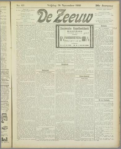 De Zeeuw. Christelijk-historisch nieuwsblad voor Zeeland 1921-11-18