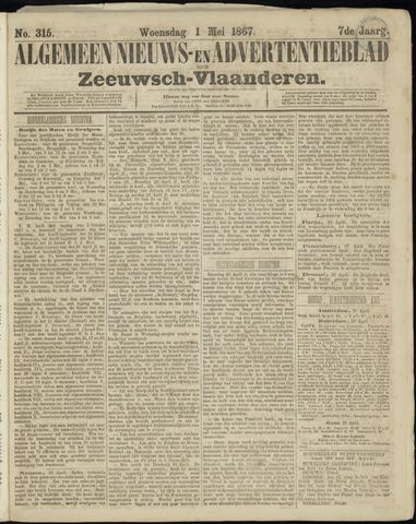 Ter Neuzensche Courant. Algemeen Nieuws- en Advertentieblad voor Zeeuwsch-Vlaanderen / Neuzensche Courant ... (idem) / (Algemeen) nieuws en advertentieblad voor Zeeuwsch-Vlaanderen 1867-05-01