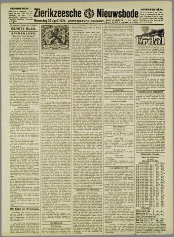 Zierikzeesche Nieuwsbode 1924-04-30