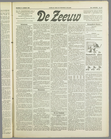 De Zeeuw. Christelijk-historisch nieuwsblad voor Zeeland 1934-01-15