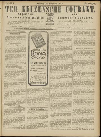 Ter Neuzensche Courant. Algemeen Nieuws- en Advertentieblad voor Zeeuwsch-Vlaanderen / Neuzensche Courant ... (idem) / (Algemeen) nieuws en advertentieblad voor Zeeuwsch-Vlaanderen 1912-09-14
