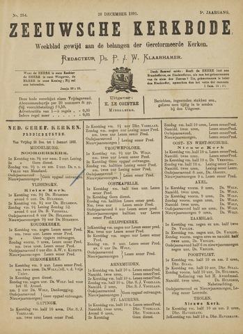 Zeeuwsche kerkbode, weekblad gewijd aan de belangen der gereformeerde kerken/ Zeeuwsch kerkblad 1891-12-26