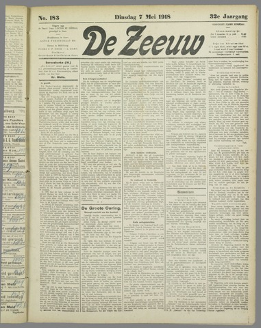 De Zeeuw. Christelijk-historisch nieuwsblad voor Zeeland 1918-05-07