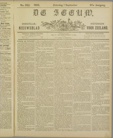 De Zeeuw. Christelijk-historisch nieuwsblad voor Zeeland 1906-09-01