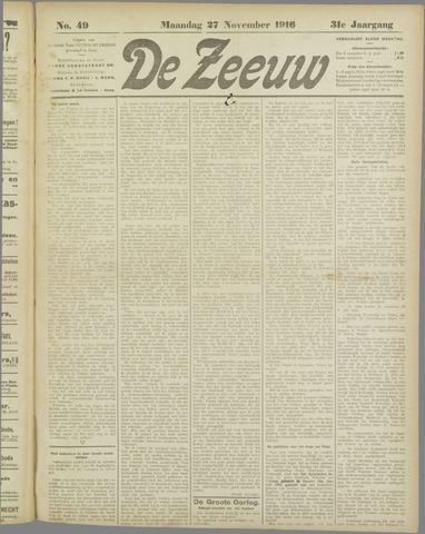 De Zeeuw. Christelijk-historisch nieuwsblad voor Zeeland 1916-11-27