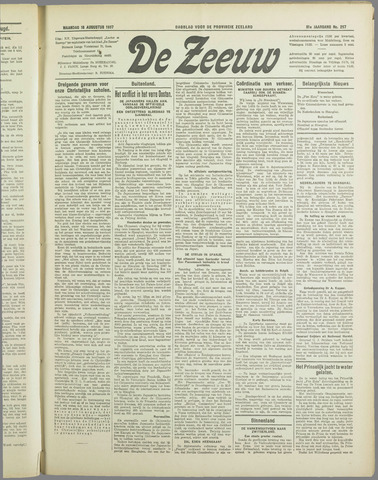 De Zeeuw. Christelijk-historisch nieuwsblad voor Zeeland 1937-08-16
