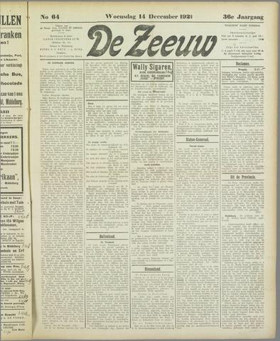 De Zeeuw. Christelijk-historisch nieuwsblad voor Zeeland 1921-12-14