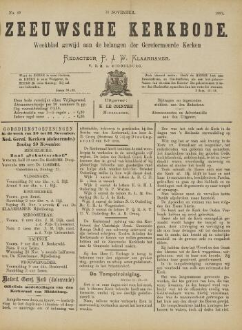 Zeeuwsche kerkbode, weekblad gewijd aan de belangen der gereformeerde kerken/ Zeeuwsch kerkblad 1887-11-19