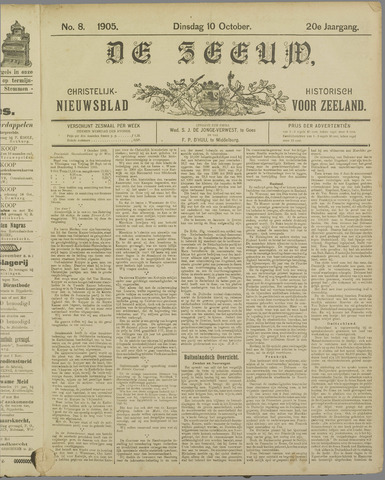 De Zeeuw. Christelijk-historisch nieuwsblad voor Zeeland 1905-10-10