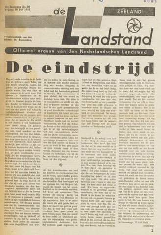 De landstand in Zeeland, geïllustreerd weekblad. 1943-07-30