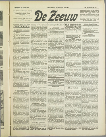 De Zeeuw. Christelijk-historisch nieuwsblad voor Zeeland 1934-03-29