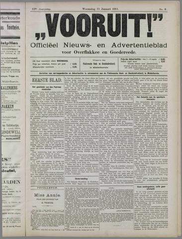 """""""Vooruit!""""Officieel Nieuws- en Advertentieblad voor Overflakkee en Goedereede 1911-01-11"""