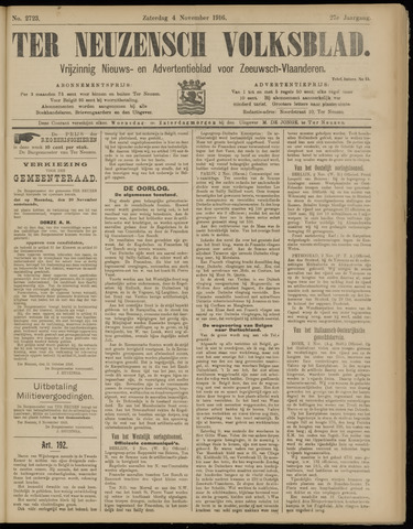Ter Neuzensch Volksblad. Vrijzinnig nieuws- en advertentieblad voor Zeeuwsch- Vlaanderen / Zeeuwsch Nieuwsblad. Nieuws- en advertentieblad voor Zeeland 1916-11-04