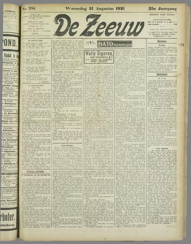 De Zeeuw. Christelijk-historisch nieuwsblad voor Zeeland 1921-08-31