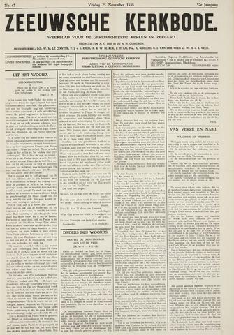 Zeeuwsche kerkbode, weekblad gewijd aan de belangen der gereformeerde kerken/ Zeeuwsch kerkblad 1938-11-25