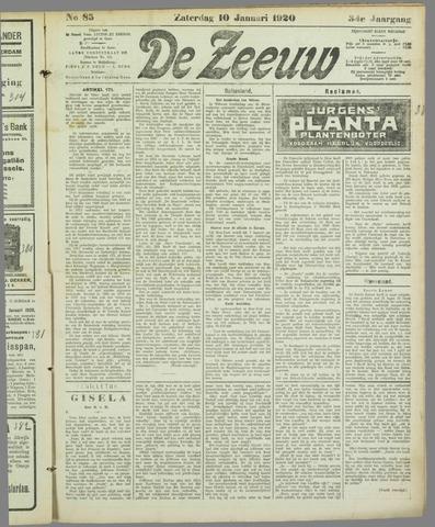 De Zeeuw. Christelijk-historisch nieuwsblad voor Zeeland 1920-01-10