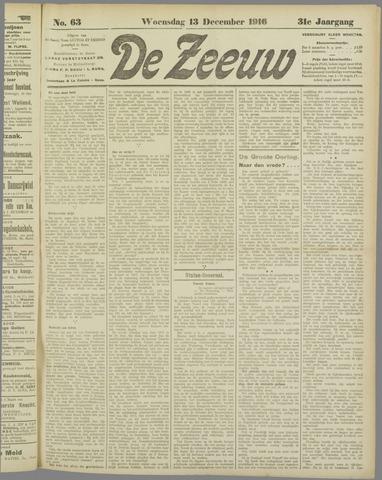 De Zeeuw. Christelijk-historisch nieuwsblad voor Zeeland 1916-12-13