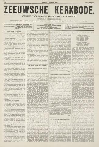 Zeeuwsche kerkbode, weekblad gewijd aan de belangen der gereformeerde kerken/ Zeeuwsch kerkblad 1935-01-04