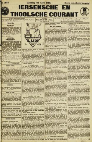 Ierseksche en Thoolsche Courant 1922-04-22