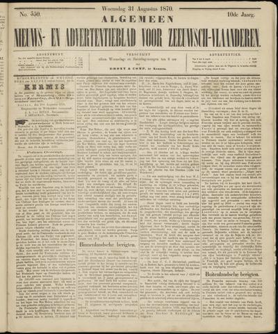 Ter Neuzensche Courant. Algemeen Nieuws- en Advertentieblad voor Zeeuwsch-Vlaanderen / Neuzensche Courant ... (idem) / (Algemeen) nieuws en advertentieblad voor Zeeuwsch-Vlaanderen 1870-08-31