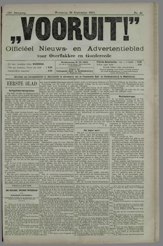 """""""Vooruit!""""Officieel Nieuws- en Advertentieblad voor Overflakkee en Goedereede 1915-09-22"""