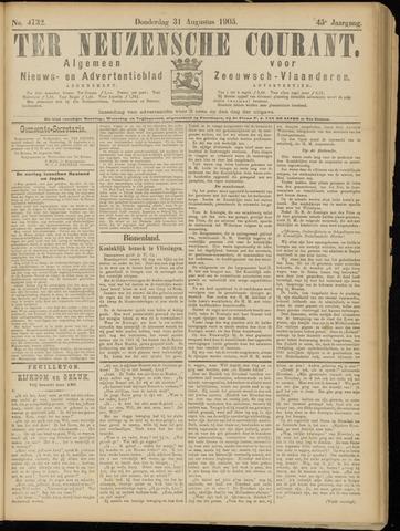 Ter Neuzensche Courant. Algemeen Nieuws- en Advertentieblad voor Zeeuwsch-Vlaanderen / Neuzensche Courant ... (idem) / (Algemeen) nieuws en advertentieblad voor Zeeuwsch-Vlaanderen 1905-08-31