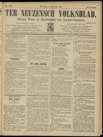 Ter Neuzensch Volksblad. Vrijzinnig nieuws- en advertentieblad voor Zeeuwsch- Vlaanderen / Zeeuwsch Nieuwsblad. Nieuws- en advertentieblad voor Zeeland 1912-09-04
