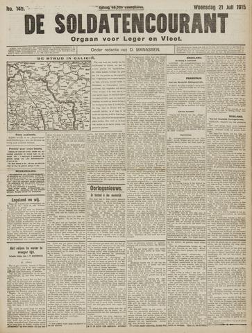 De Soldatencourant. Orgaan voor Leger en Vloot 1915-07-21