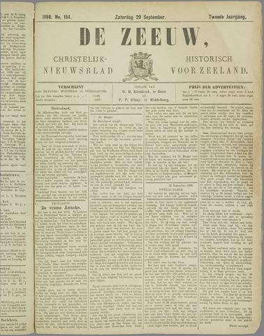 De Zeeuw. Christelijk-historisch nieuwsblad voor Zeeland 1888-09-29