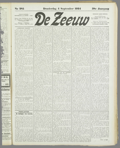 De Zeeuw. Christelijk-historisch nieuwsblad voor Zeeland 1924-09-04
