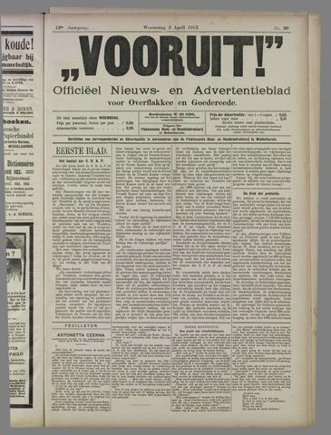 """""""Vooruit!""""Officieel Nieuws- en Advertentieblad voor Overflakkee en Goedereede 1913-04-02"""