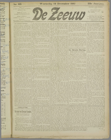 De Zeeuw. Christelijk-historisch nieuwsblad voor Zeeland 1917-12-12
