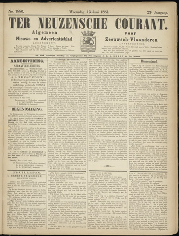 Ter Neuzensche Courant. Algemeen Nieuws- en Advertentieblad voor Zeeuwsch-Vlaanderen / Neuzensche Courant ... (idem) / (Algemeen) nieuws en advertentieblad voor Zeeuwsch-Vlaanderen 1883-06-13