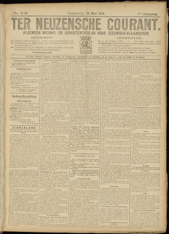 Ter Neuzensche Courant. Algemeen Nieuws- en Advertentieblad voor Zeeuwsch-Vlaanderen / Neuzensche Courant ... (idem) / (Algemeen) nieuws en advertentieblad voor Zeeuwsch-Vlaanderen 1918-05-23