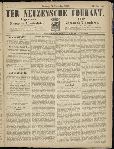 Ter Neuzensche Courant. Algemeen Nieuws- en Advertentieblad voor Zeeuwsch-Vlaanderen / Neuzensche Courant ... (idem) / (Algemeen) nieuws en advertentieblad voor Zeeuwsch-Vlaanderen 1883-11-24