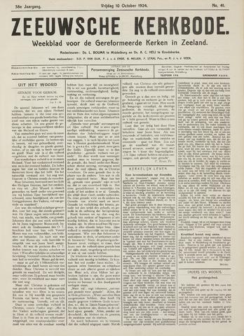 Zeeuwsche kerkbode, weekblad gewijd aan de belangen der gereformeerde kerken/ Zeeuwsch kerkblad 1924-10-10