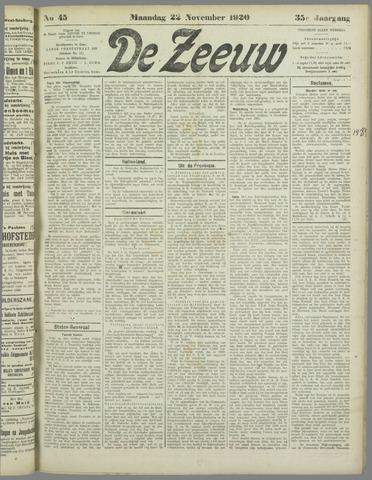 De Zeeuw. Christelijk-historisch nieuwsblad voor Zeeland 1920-11-22
