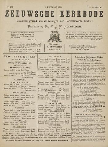 Zeeuwsche kerkbode, weekblad gewijd aan de belangen der gereformeerde kerken/ Zeeuwsch kerkblad 1891-12-19