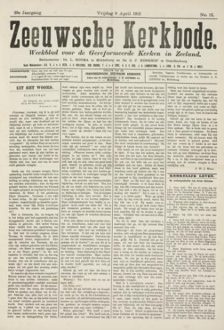 Zeeuwsche kerkbode, weekblad gewijd aan de belangen der gereformeerde kerken/ Zeeuwsch kerkblad 1915-04-09
