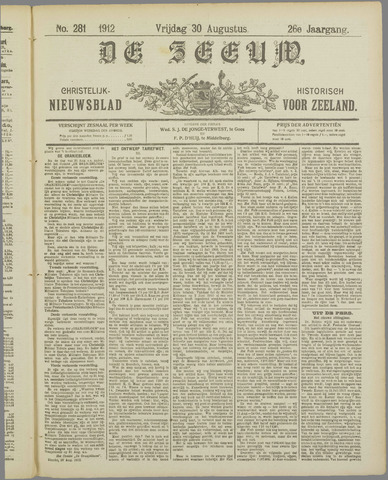 De Zeeuw. Christelijk-historisch nieuwsblad voor Zeeland 1912-08-30