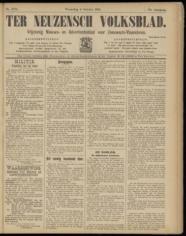 Ter Neuzensch Volksblad. Vrijzinnig nieuws- en advertentieblad voor Zeeuwsch- Vlaanderen / Zeeuwsch Nieuwsblad. Nieuws- en advertentieblad voor Zeeland 1916-10-04