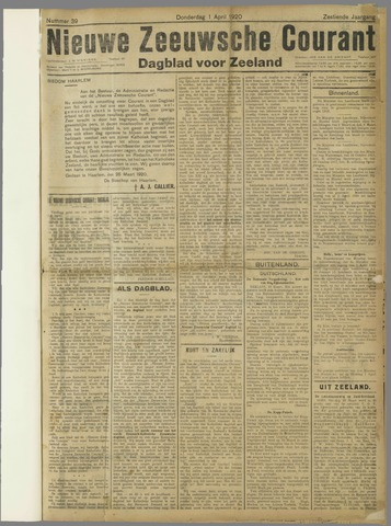 Nieuwe Zeeuwsche Courant 1920