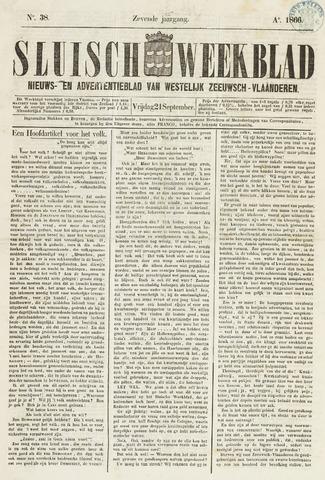 Sluisch Weekblad. Nieuws- en advertentieblad voor Westelijk Zeeuwsch-Vlaanderen 1866-09-21