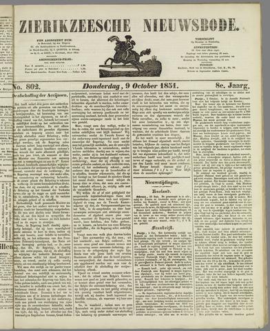 Zierikzeesche Nieuwsbode 1851-10-09