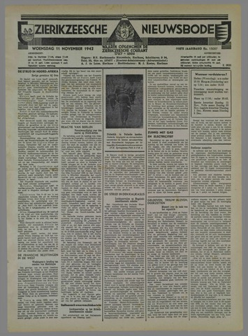 Zierikzeesche Nieuwsbode 1942-11-11
