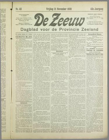 De Zeeuw. Christelijk-historisch nieuwsblad voor Zeeland 1930-11-21