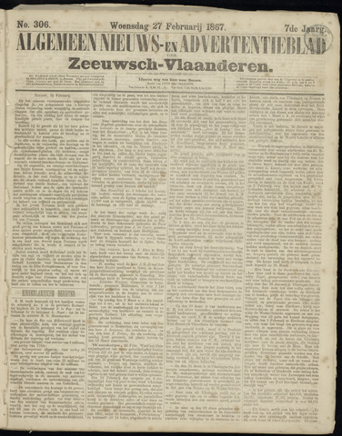 Ter Neuzensche Courant. Algemeen Nieuws- en Advertentieblad voor Zeeuwsch-Vlaanderen / Neuzensche Courant ... (idem) / (Algemeen) nieuws en advertentieblad voor Zeeuwsch-Vlaanderen 1867-02-27