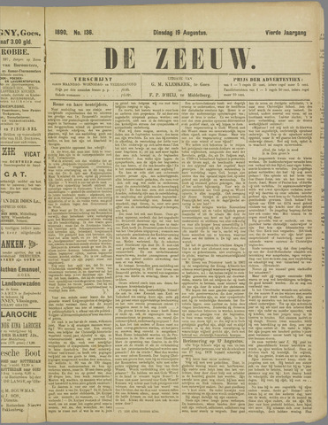 De Zeeuw. Christelijk-historisch nieuwsblad voor Zeeland 1890-08-19