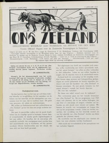 Ons Zeeland / Zeeuwsche editie 1927-01-01