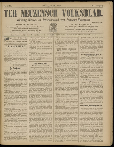 Ter Neuzensch Volksblad. Vrijzinnig nieuws- en advertentieblad voor Zeeuwsch- Vlaanderen / Zeeuwsch Nieuwsblad. Nieuws- en advertentieblad voor Zeeland 1916-05-20